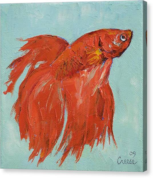 Siamese Canvas Print - Siamese Fighting Fish by Michael Creese