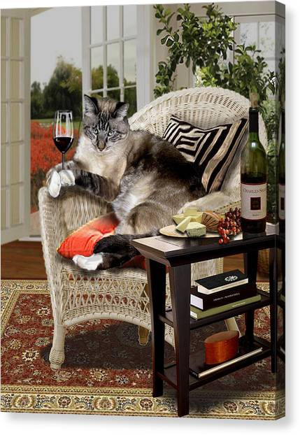 Gina Femrite Canvas Print - Funny Pet A Wine Bibbing Kitty  by Regina Femrite