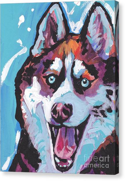 Huskies Canvas Print - Sibe By Sibe by Lea S