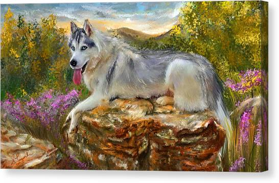 Huskies Canvas Print - Siberian Leisure - Siberian Husky Painting by Lourry Legarde