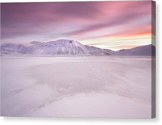 Winter Canvas Print - Sibillini National Park - Sunrise by Roberto Marchegiani