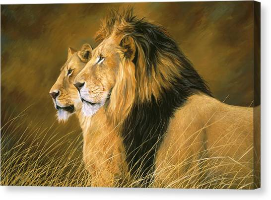 Lions Canvas Print - Side By Side by Lucie Bilodeau