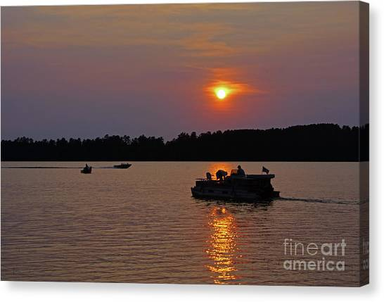 Side Lake Mn Sunset  Canvas Print