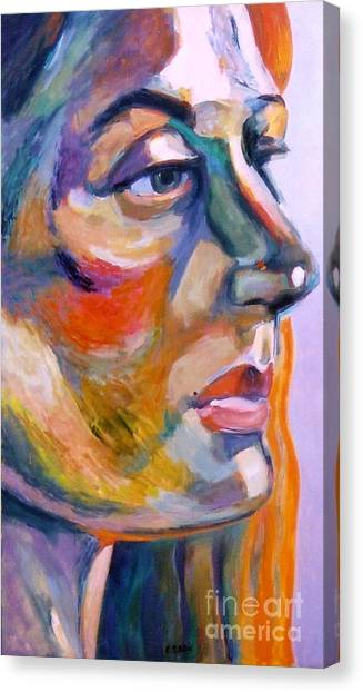 Sideview Of A Woman Canvas Print