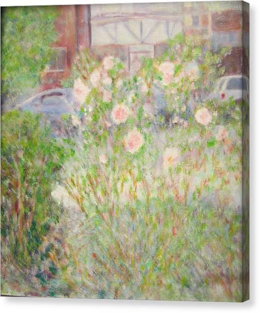 Sidewalk Flowers In Chicago Canvas Print