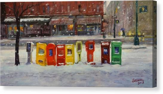 Sidewalk Sentinels In Early Snow Canvas Print
