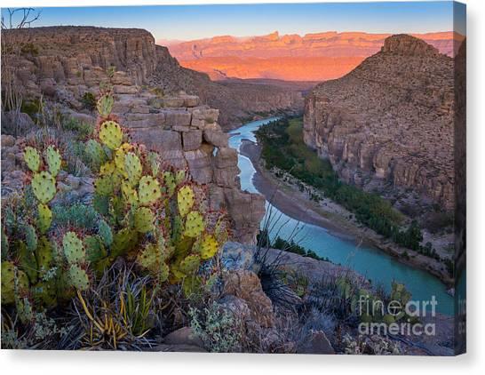 Rio Grande River Canvas Print - Sierra Del Carmen And The Rio Grande by Inge Johnsson
