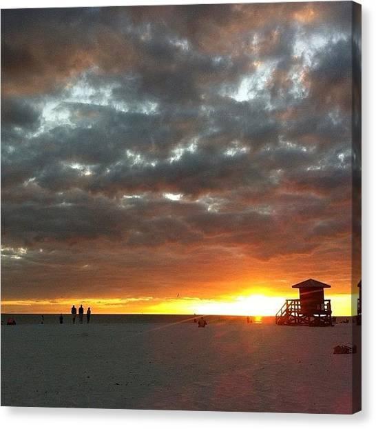 Lifeguard Canvas Print - Siesta Key Beach, Gulf Coast, Florida by Emily Murray