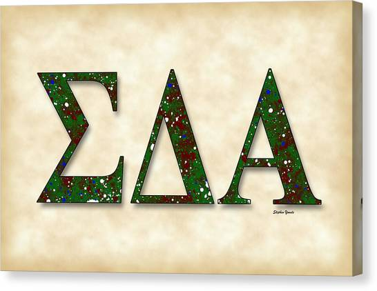 San Jose State University Canvas Print - Sigma Delta Alpha - Parchment by Stephen Younts