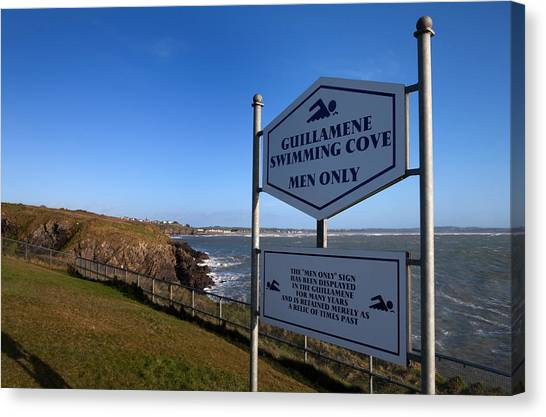 Waterford Canvas Print - Sign At Guillamene Swimming Cove by Panoramic Images
