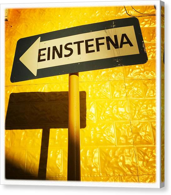 European Canvas Print - Sign Einstefna One-way Traffic In Iceland by Matthias Hauser