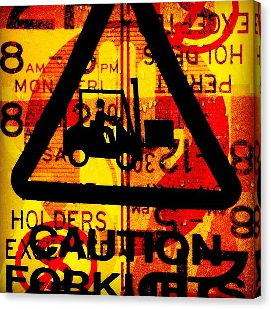 Forklifts Canvas Print - #sign #forklift #triangle #colour by Simon Barry