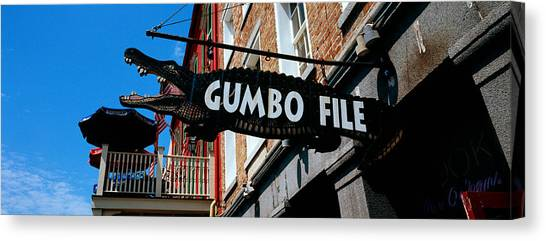 Gumbo Canvas Print - Signboard Outside Of A Restaurant by Panoramic Images