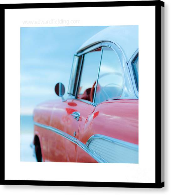 4x4 Canvas Print - Signed Chevy Belair At The Beach Mini by Edward Fielding