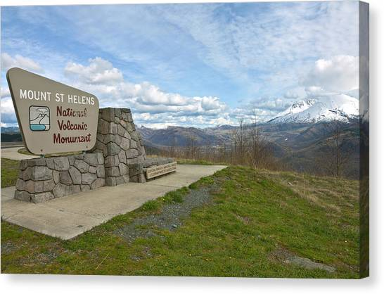 Mount St. Helens Canvas Print - Signpost At Mount St. Helens National by Panoramic Images