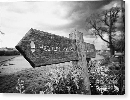 Hadrian canvas print signpost for hadrians wall path northumberland uk by joe fox