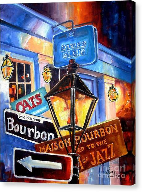 Mardi Gras Canvas Print - Signs Of Bourbon Street by Diane Millsap