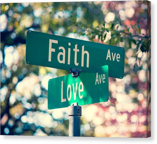 Love Canvas Print - Signs Of Faith And Love by Sonja Quintero