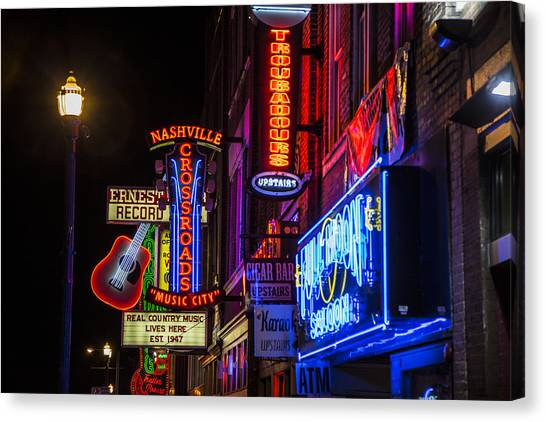Signs Of Music Row Nashville Canvas Print