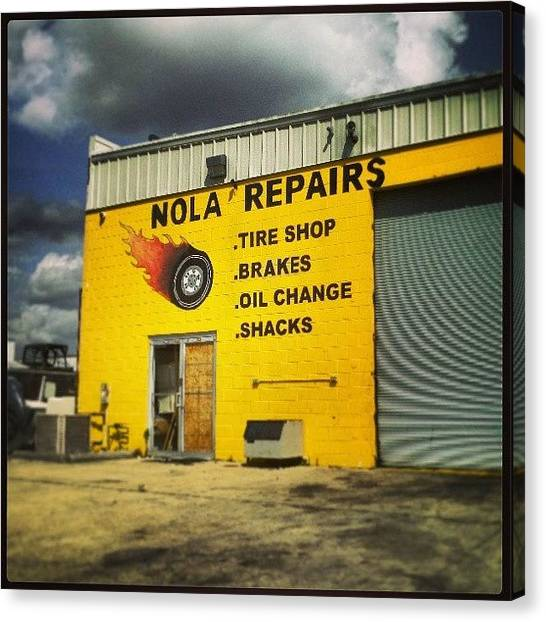 Repairs Canvas Print - #signs Of #nola - Tire Shop by Glen Abbott
