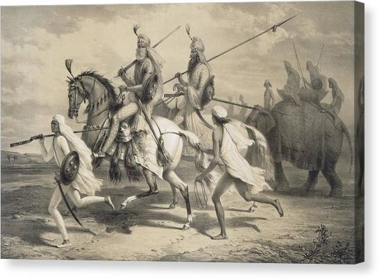 Sikh Canvas Print - Sikh Chieftans Going Hunting by A Soltykoff
