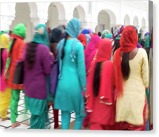 Golden Temple Canvas Print - Sikh Women Visiting The Golden Temple by Panoramic Images