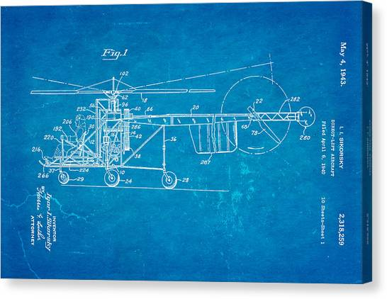 1943 Canvas Print - Sikorsky Helicopter Patent Art 1943 Blueprint by Ian Monk