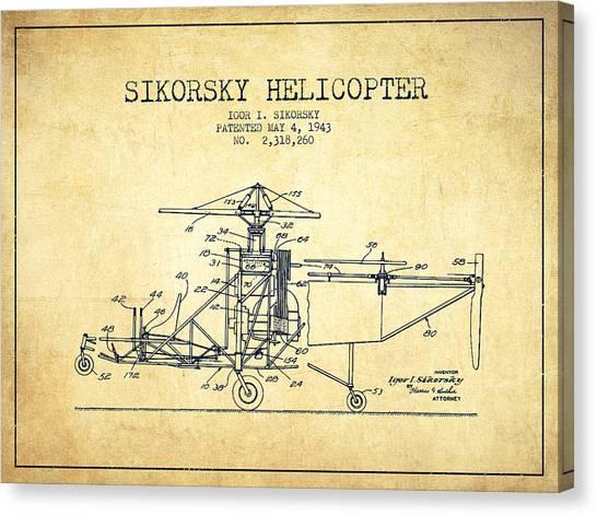 Helicopters Canvas Print - Sikorsky Helicopter Patent Drawing From 1943-vintage by Aged Pixel