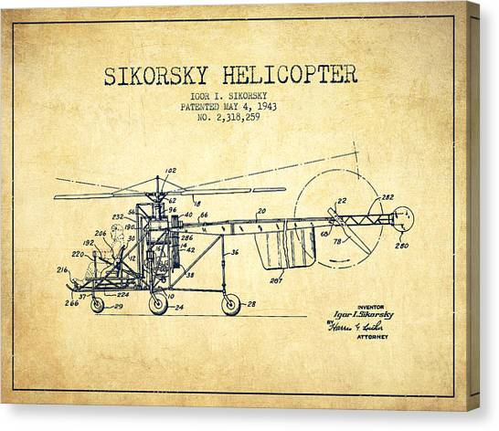 Helicopters Canvas Print - Sikorsky Helicopter Patent Drawing From 1943-vintgae by Aged Pixel