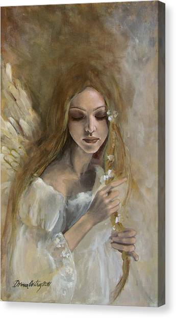 Angel Canvas Print - Silence by Dorina  Costras