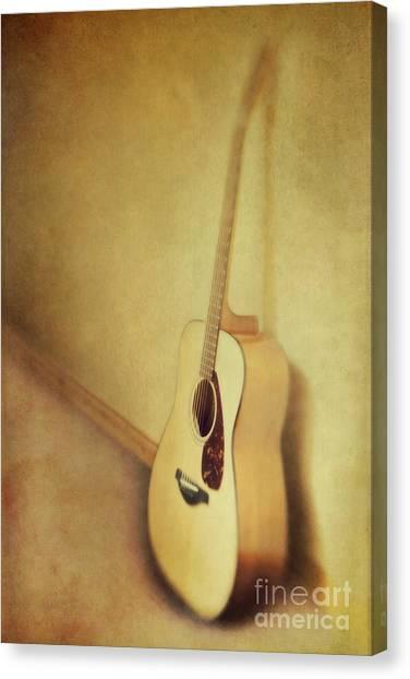 Guitar Canvas Print - Silent Guitar by Priska Wettstein