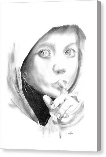 Hoodie Canvas Print - Silent Hoodie by John Jensen