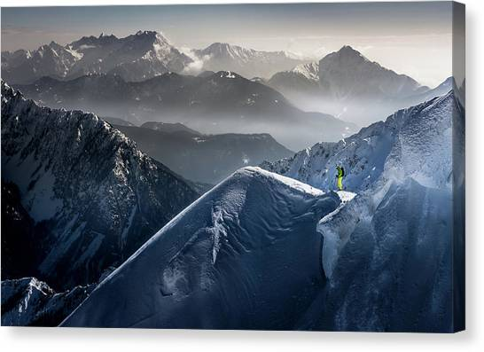 Skiing Canvas Print - Silent Moments Before Descent by Sandi Bertoncelj