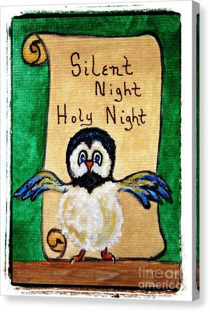 Silent Night - Whimsical Chickadee Choir Director Canvas Print