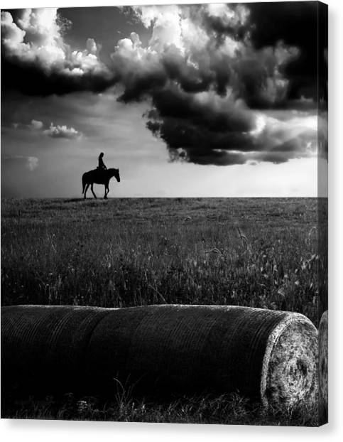 Silhouette Bw Canvas Print
