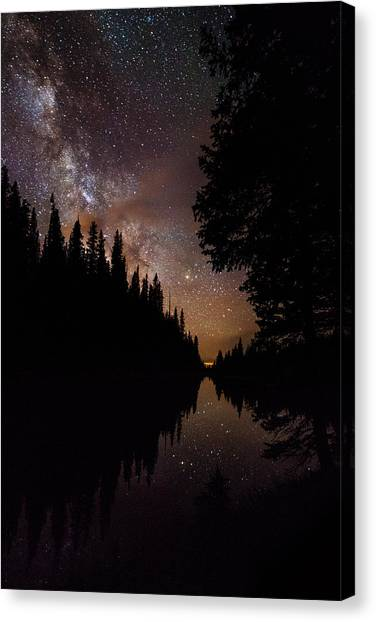 All Star Canvas Print - Silhouette Curves In The Starry Night by Mike Berenson