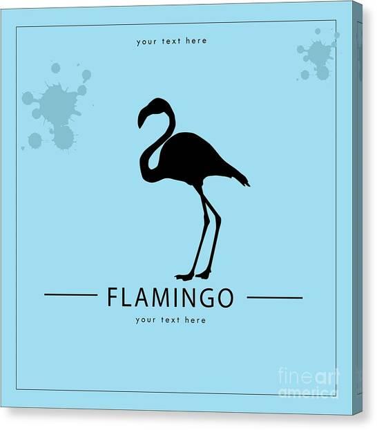 Flight Canvas Print - Silhouette Flamingo In The Retro Style by Kurt Natalia