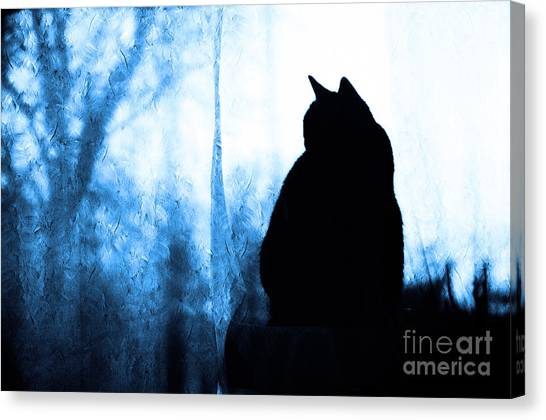 Andee Design Animals Canvas Print - Silhouette In Blue by Andee Design