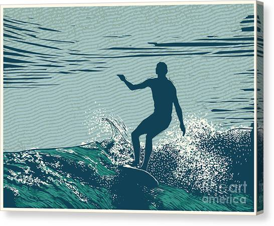 Surfboard Canvas Print - Silhouette Surfer And Big Wave by Jumpingsack