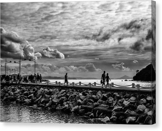 Silhouettes On The Jetty Canvas Print