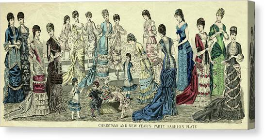 Fashion Plate Canvas Print - Silk Christmas And New Year's Party by Mary Evans Picture Library