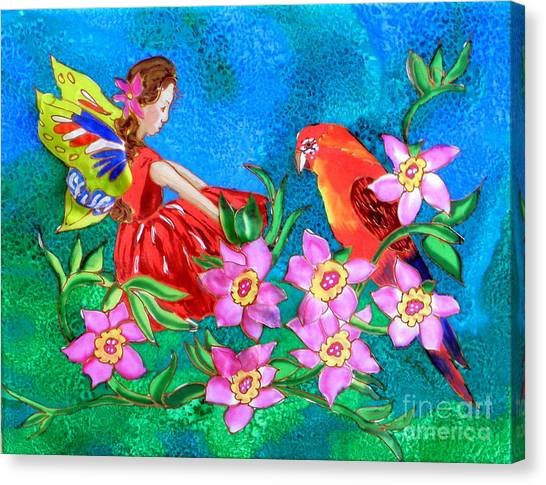 Silk Fairy And Parrot Canvas Print