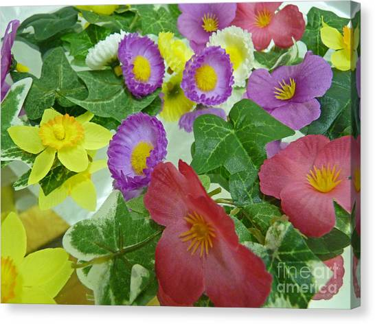 Silk Flowers For Springtime Canvas Print