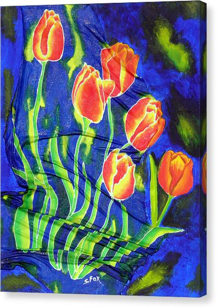Silk Tulips Canvas Print