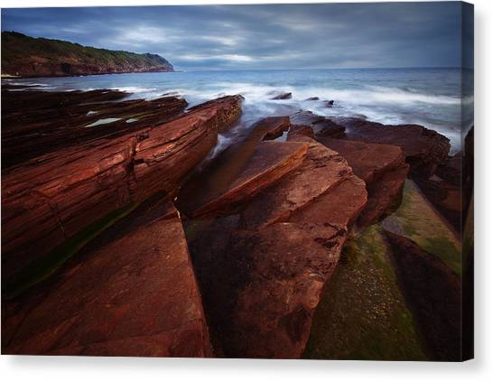 Silky Wave And Ancient Rock 1 Canvas Print