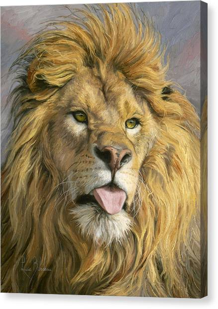 Lion Canvas Print - Silly Face by Lucie Bilodeau