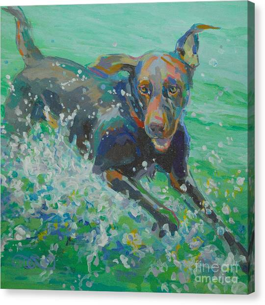 Chocolate Labrador Retriever Canvas Print - Silly Goose by Kimberly Santini
