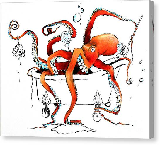 Octopus Canvas Print - Silly Octopus Taking A Bath by Arleana Holtzmann