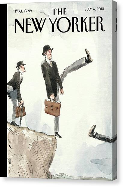 European Canvas Print - Silly Walk Off A Cliff by Barry Blitt