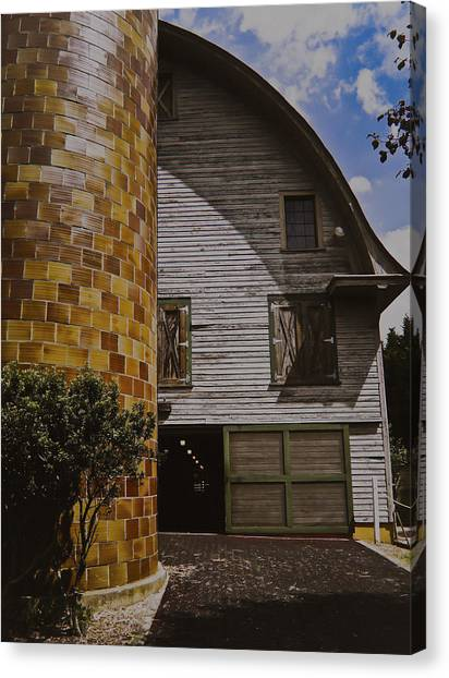 Silo And Horse Stable Canvas Print